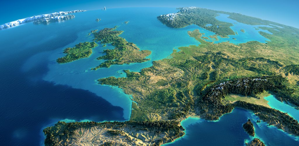 Graphic design relief map of Europe