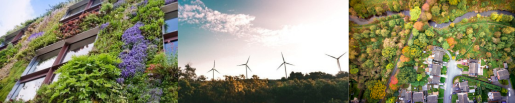 banner image of green wall, wind turbines and housing